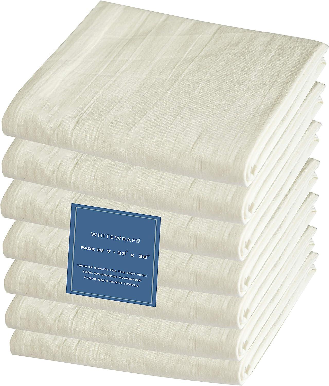 "WHITEWRAP Flour Sack Dish Towels   33""x 38""   7-Pack   Natural   130 Thread Count Ring Spun Cotton Large Kitchen Towel, Hand Towels, Tea Towels, Dish Towels, and Dish Cloths"