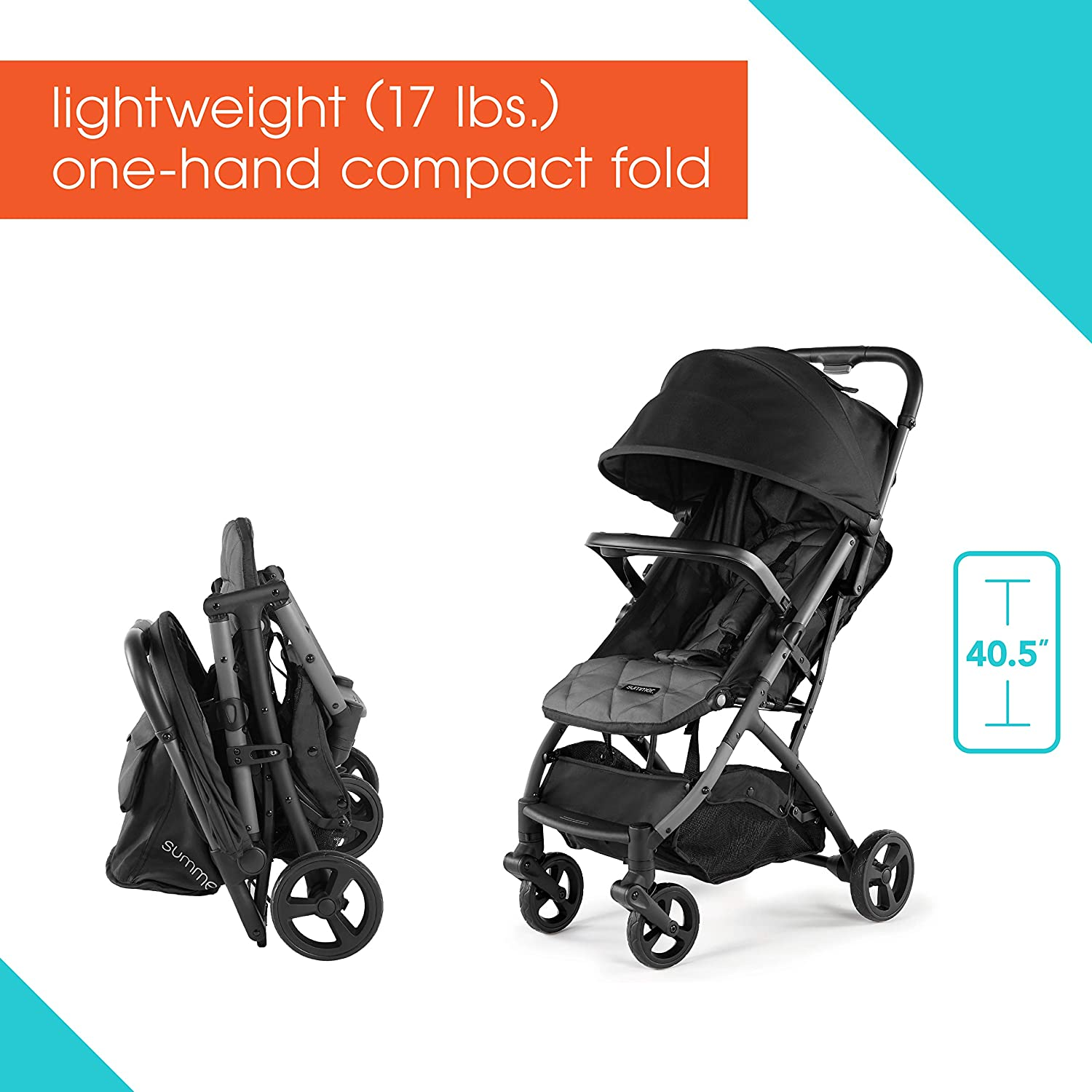 Summer 3Dpac CS Compact Fold Stroller, Black – Compact Car Seat Adaptable Baby Stroller – Lightweight Stroller with Convenient One-Hand Fold, Reclining Seat and Extra-Large Canopy