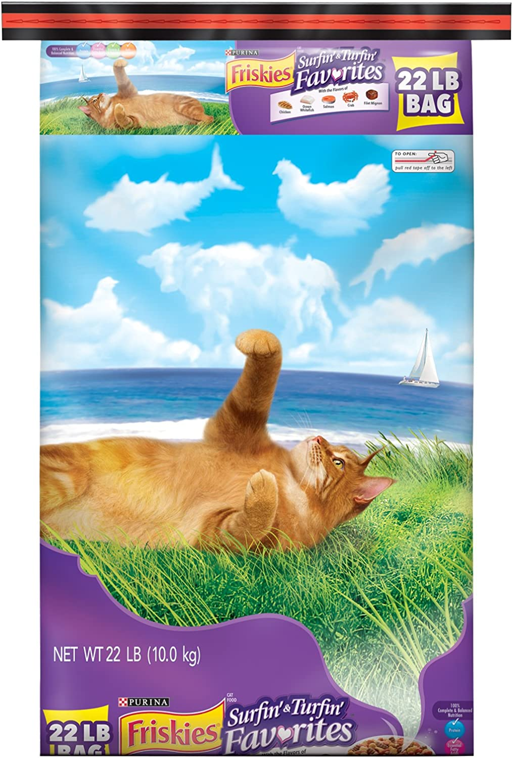 Friskies Dry Cat Food, Surfin' and Turfin' Favorites, 22Pound Bag, Pack of 1