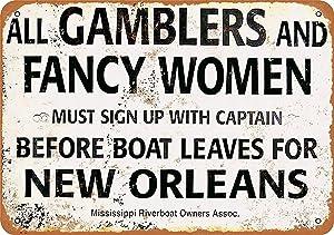 Fsdva 8 x 12 Metal Sign - Gamblers Fancy Women New Orleans Riverboat - Vintage Wall Decor Art