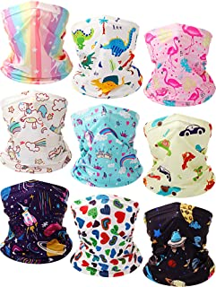 9 Pieces Kids Youth Neck Gaiter Kids Printed Bandanas Face Cover Scarf UV Protection Balaclavas for Hot Summer Cycling Hik...