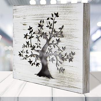 Cuadro Mandala de Pared - árbol de la Vida Calada, Fabricada artesanalmente en España- Mandala 3D Cuadrada Pintada a Mano- Modelo Mosaico 117 (Blanco Envejecido, 30x30 cm): Amazon.es: Hogar