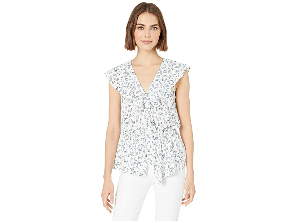Image of 1.STATE Afternoon Bouquet Flounce Edge Blouse (Soft Ecru) Women's Blouse