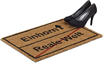 Relaxdays Coir Doormat Real World/Unicorn, Funny Coir Door Mat, Non Slip. PVC, 40 x 60 cm, Natural/Black