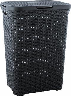 CURVER | Coffre à linge 60L Aspect rotin, Anthracite, 44,8 x 34,1 x 61,5 cm, Plastique