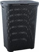 CURVER | Coffre à linge 60L - Aspect rotin, Anthracite, Laundry Hampers & Baskets, 44,8x34,1x61,5 cm