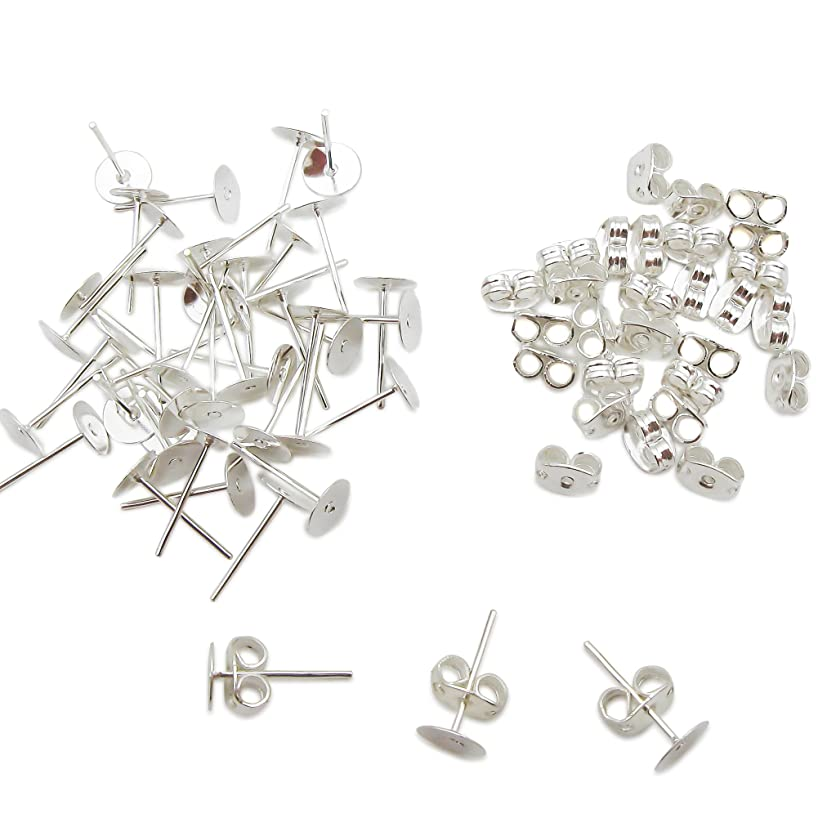 TOAOB 300 Pairs Crafts Stainless Steel Earrings Posts Flat Post Pad With Butterfly Findings Earring Backs For Earrings Making DIY Making