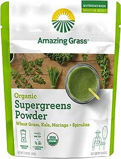 Amazing Grass Organic Super Greens Powder with Wheatgrass, Kale, Moringa, & Spirulina, Smoothie Booster with Vitamin K, 30 Servings