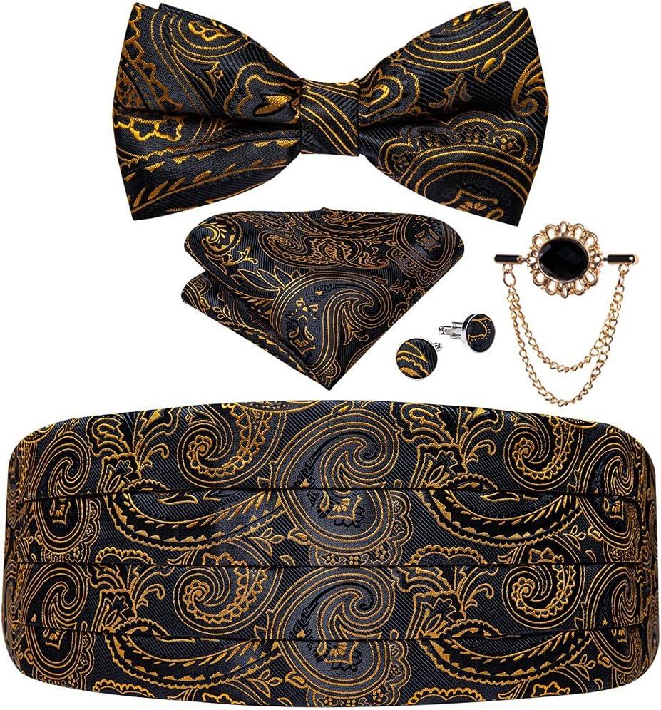 NJBYX Black Gold Men Cummerbund Bow Tie Pocket Square Cufflinks Set Men Tuxedo Suit Accessories Elastic Belts For Men (Color : B, Size : One size)