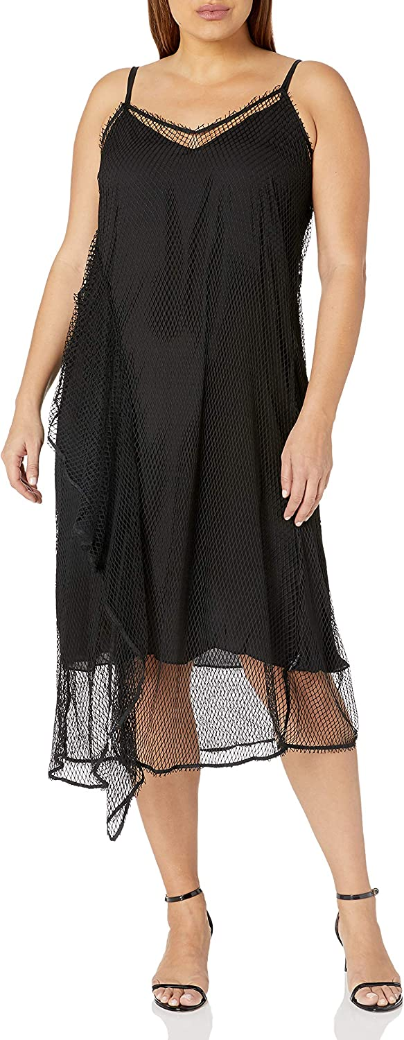 City Chic Women's Apparel Women's Plus Size V Necked Slip Dress with Fishnet Overlay and Ruffle Detail