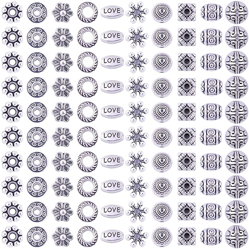 Antique Silver Tibetan Alloy Spacer Beads Ball Box 480pcs Jewelry Findings European Beading Assortment Accessories DIY for Bracelet Necklace Jewelry Making