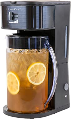 HomeCraft HCIT3BS 3-Quart Black Stainless Steel Café' Iced Tea And Iced Coffee Brewing System, 12 Cups, Strength Selector