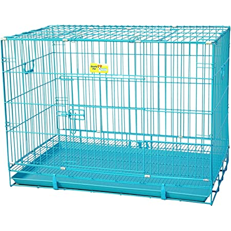 Royal Pet Iron and Plastic Cage with Removable Tray for Dog and Rabbit (Blue, 42-inch)