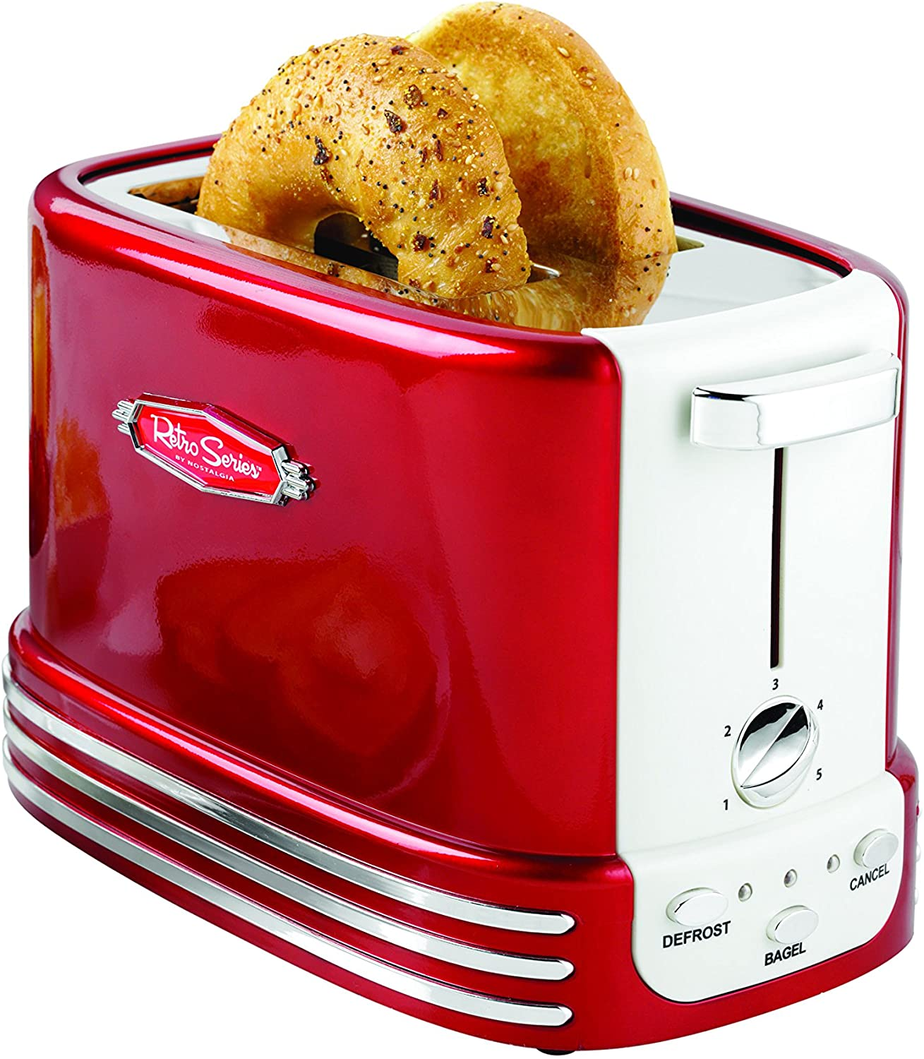 Amazon Com Nostalgia New And Improved Wide 2 Slice Toaster Perfect For Bread English Muffins Bagels 5 Browning Levels With Crumb Tray Cord Storage Retro Red Kitchen Dining