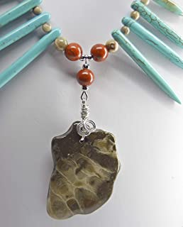 Michigan beaded Statement pendant necklace jewelry unisex fossils, Favosite and Petoskey stone rock approx. 28