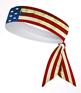 NiceGear. Old Glory Custom Dri-Fit Head Tie Headband American Flag Red White Blue Memorial Veterans President Independence Day USA- White Black