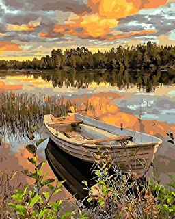 CharmCollection Paint By Number Paint Kit Acrylic Pigment-Lakeside Boat Drawing Paintwork with Paintbrushes Canvas Oil Pai...