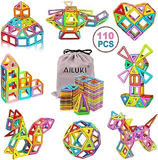 AILUKI 110 PCS Magnetic Blocks Building Set for Kids, Magnetic Tiles Preschool Educational Construction Kit Toys for Girls & Boys