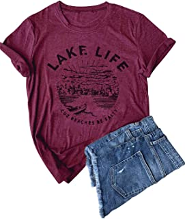 Women Graphic Tees Lake Life Letters Print T Shirt Short Sleeve Casual Tops Blouse