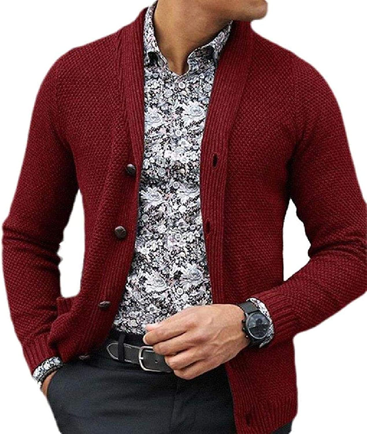 Men Fashion Open Front Cardigan Sleeve Special price for a limited time Slim Button Max 70% OFF Knitted Long