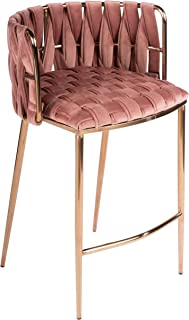 Statements by J Milano Counter Chair Rose 35 Inch Tall Pink Modern Contemporary Solid Stainless Steel