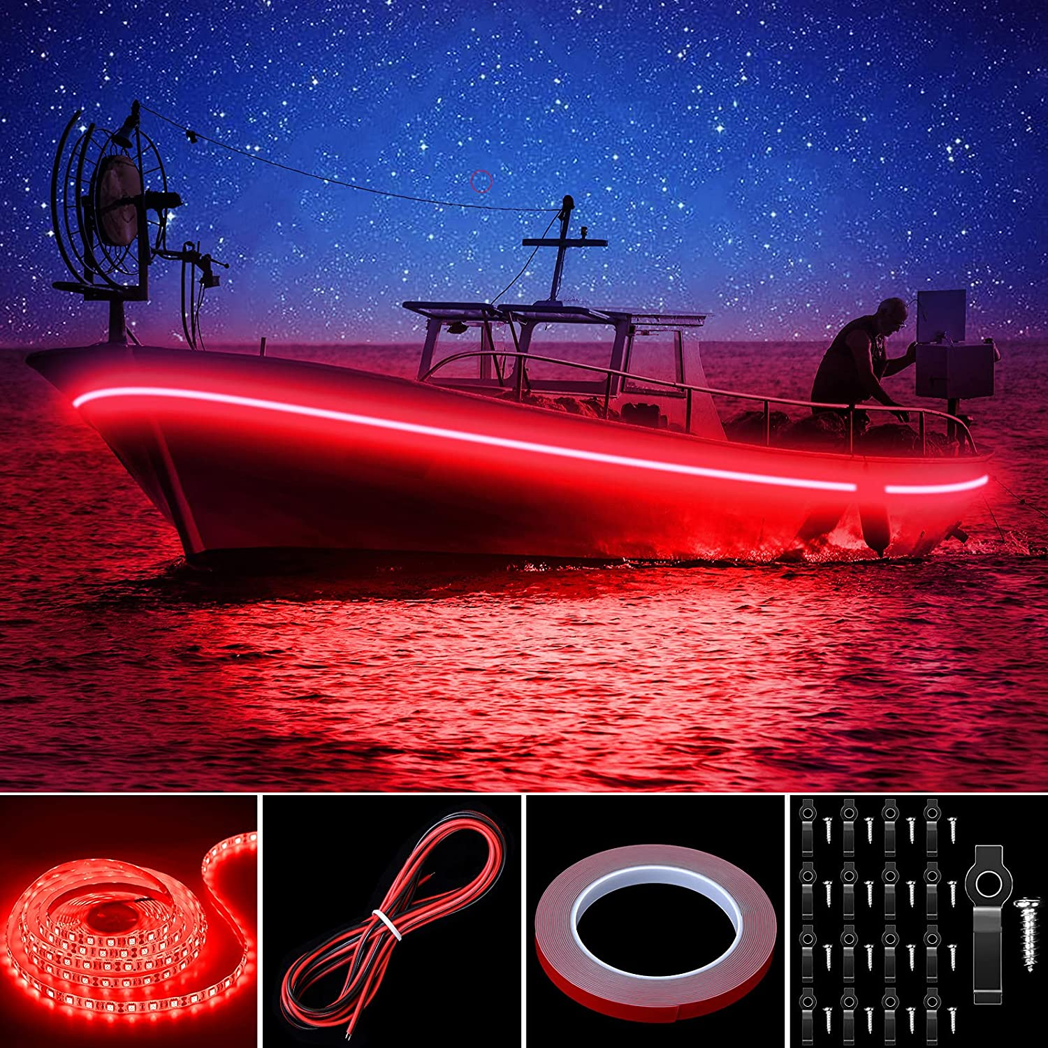 Pontoon LED Strip Lights, 16.4FT 12V Waterproof Marine Boat Interior Courtesy Lights, Under Deck Night Fishing Lights with Mounting Brackets Adhesive Tape and Extension Cable for Pontoon Boat (Green): Sports & Outdoors