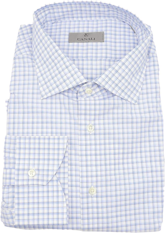 Canali Men's Cotton Modern Fit Plaid Dress Shirt Casual Button-Down