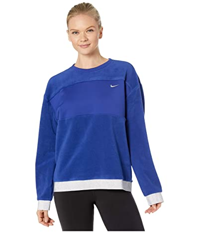 Nike Icon Clash Therma Fleece Crew (Deep Royal Blue/Metallic Silver) Women