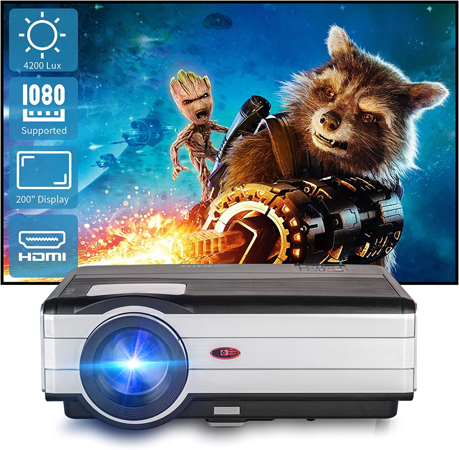Full HD 1080p supported Video Projector for Home and Outdoor Entertainment with Max 200inch Huge Screen Display HIFI Speaker Home Cinema Endurable Projector Compatible with TV Stick/PS4/HDMI/USB/Phone