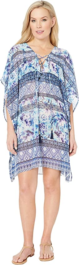 Aqua Petals Lace-Up Tunic Cover-Up