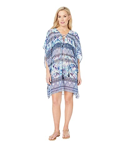 Tommy Bahama Aqua Petals Lace-Up Tunic Cover-Up (White) Women