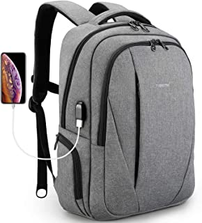 Tigernu Laptop Backpack Business Backpack with USB Charging Port Computer School Bookbag Anti-Theft Bag for Travel School Business Men Women Fit Under 15.6 inch Laptop/MacBook, 3399Grey, Grey, 15.6 inches
