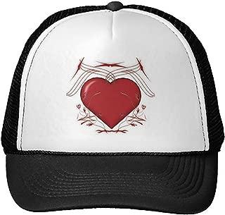 Unisex Adult Trucker Cap -Red Heart with Tribal Pattern - Trucker Hat Black