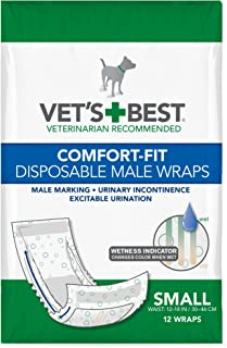 Vet's Best Comfort Fit Disposable Male Dog Diapers   Absorbent Male Wraps with Leak Proof Fit