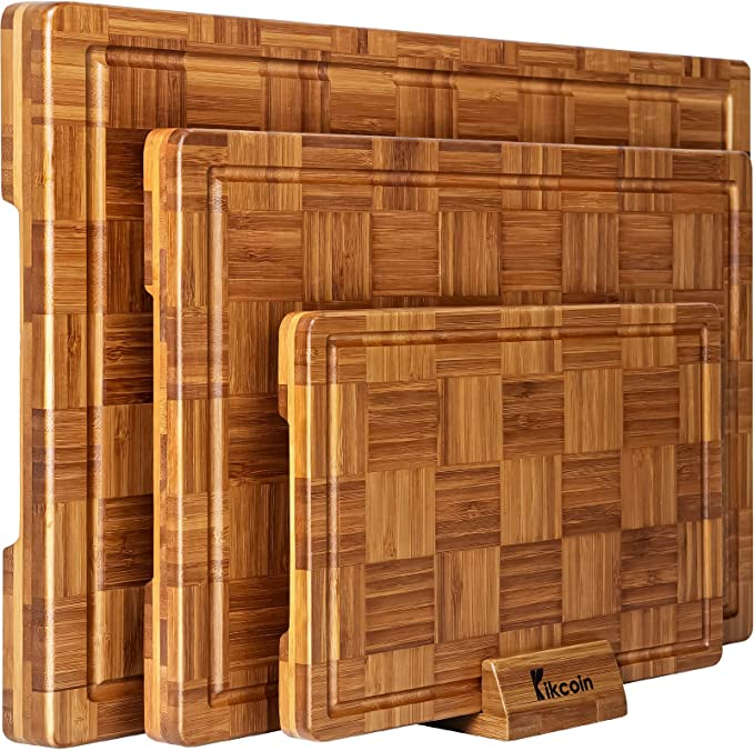 Kikcoin Extra Large Bamboo Cutting Boards - Best Durability