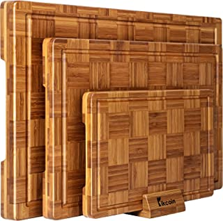 Extra Large Bamboo Cutting Boards, (Set of 3) Chopping Boards with Juice Groove Bamboo Wood Cutting Board Set Butcher Bloc...