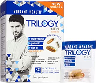 Vibrant Health, Trilogy for Men, Multi-Pack with Multivitamin, Fish Oil and Probiotic, Gluten Free, Non-GMO, 30 Servings