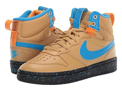 Nike Kids Court Borough Mid 2 Boot (Big Kid) (Club Gold/Blue Hero/Kumquat/Black) Boys Shoes
