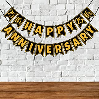 Wobbox 25th Anniversary Bunting Banner, Golden Gliter & Black , Anniversary Party Decoration