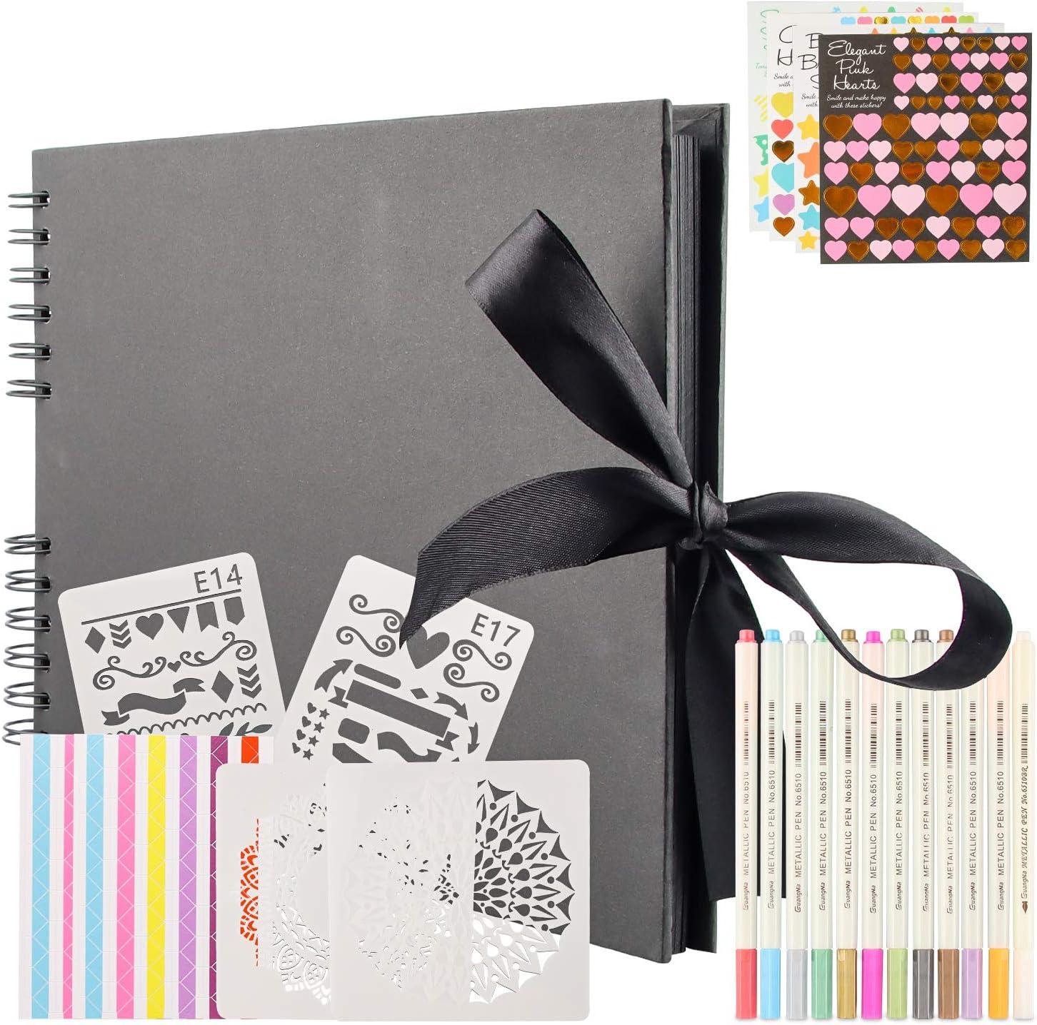 Álbumes de Fotos Scrapbook, Kit de Álbum de Fotos con 80 Páginas Negras (40 Hojas), Álbum de Fotos DIY con Bolígrafo Metálico de 12 Colores, Regalo de Cumpleaños/Aniversario/Boda/Graduación (Negro)