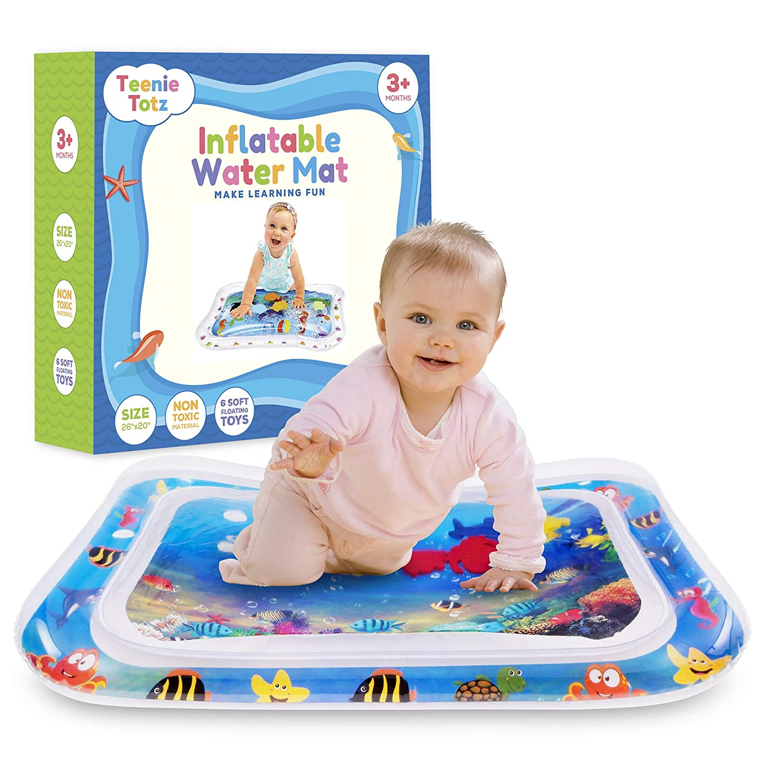 Teenie Totz Inflatable Tummy Time Water Mat - Premium Baby Water Mat for Infants Fun Play Activity Centre for Sensory Baby Development - Perfect Baby Water Play Mat with Fun Toys