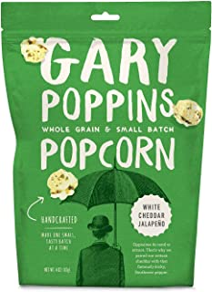 Gary Poppins Popcorn - Gourmet Flavored Popped Popcorn - 4 Pack White Cheddar Jalapeño (4oz)