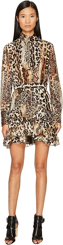 Long Sleeve Mixed Animal Print Dress