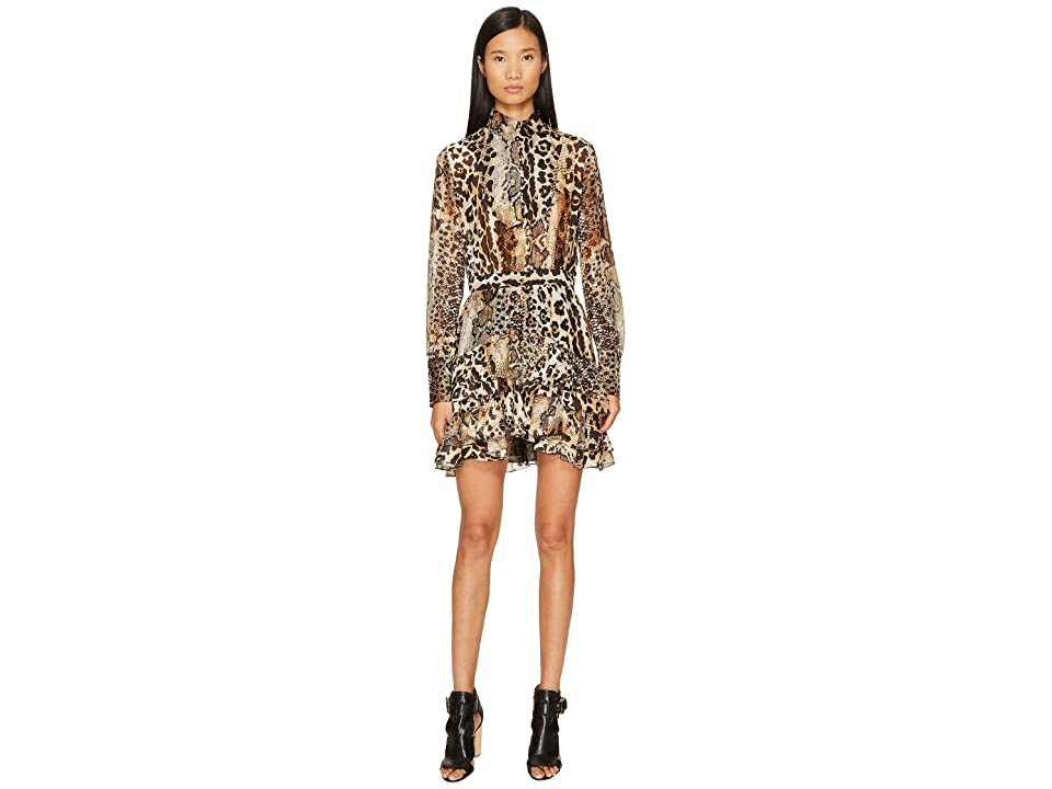 Just Cavalli Long Sleeve Mixed Animal Print Dress (Natural Veg Tanned Full Grain) Women