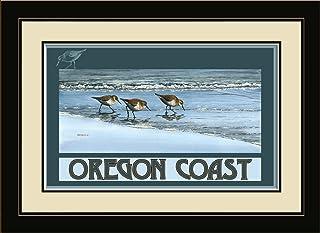 "Northwest Art Mall BA-4021 MFGDM BAB Oregon Coast Birds At Beach Framed Wall Art by Artist Dave Bartholet, 13"" x 16"""