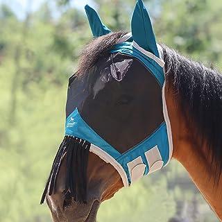 Harrison Howard CareMaster Horse Fly mask with Ears and Nose Fringe Fly Protector Defender Mask-Teal