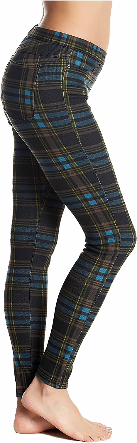 Hue Holiday Plaid Original Denim Leggings Black XSmall 02