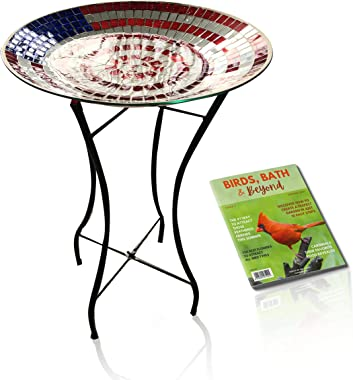 BACKYARD EXPRESSIONS PATIO · HOME · GARDEN | Glass Birdbath for Outdoors | Mosaic American Flag Pattern | Glass Bowl with Met