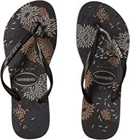 Havaianas - Slim Logo Metallic Bloom Flip Flops