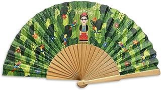 Designer Souvenirs - Abanico Plegable con Varillas de Madera Color Verde Regalar a Madres Abuelas o Amigas | Original Dis...